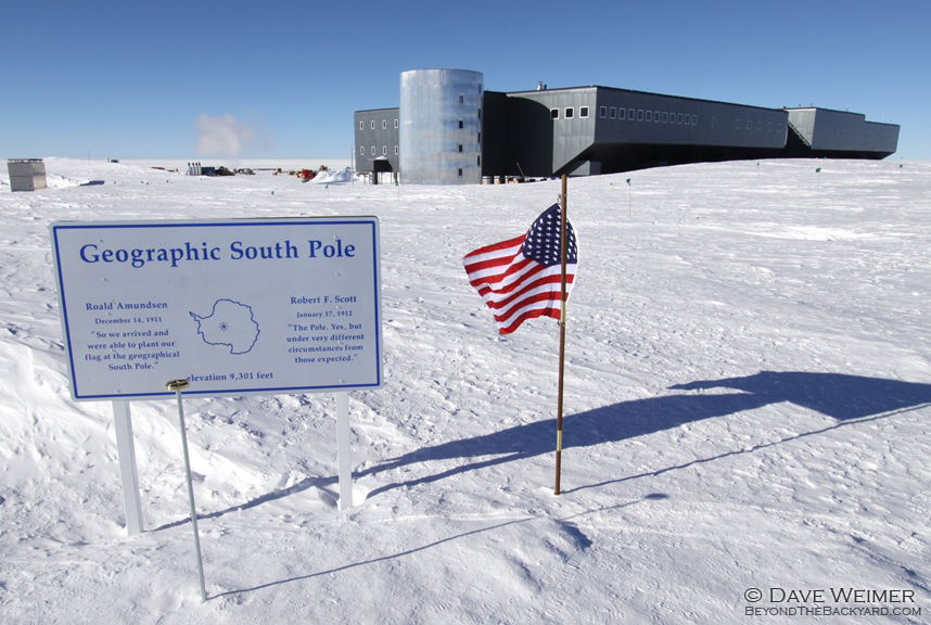 The South Pole with the Station in the background