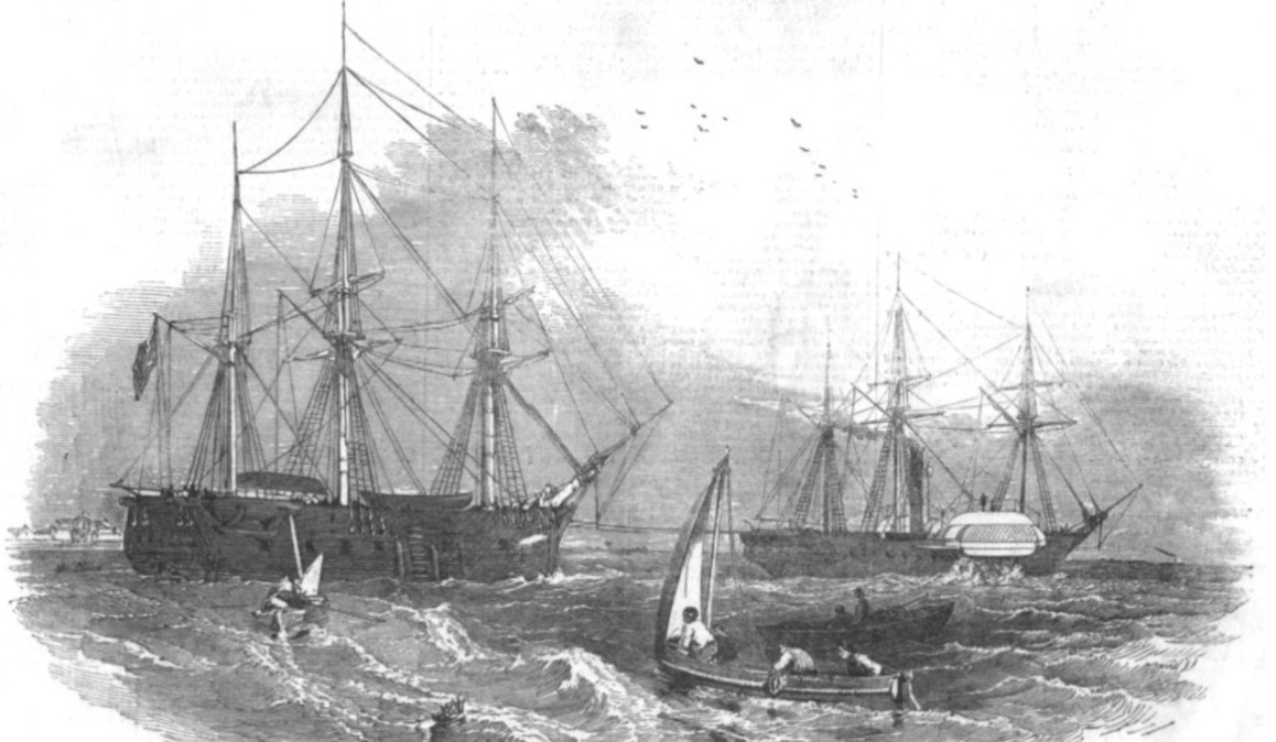 HMS North Star being towed to the Greenland coast, 1849