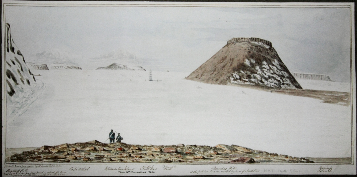1850 painting by one of the men from the North Star. You can see the ship at the base of Mt. Dundas. *Courtesy of the Royal National Archives